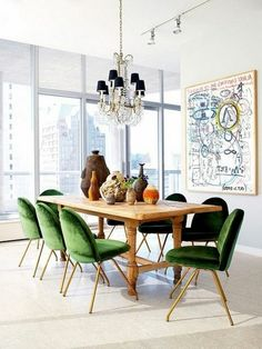 eclectic-dining-room-interior-comfortable-green-chairs.jpg (600×800)