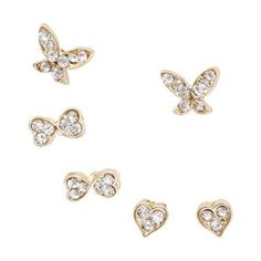 BMC 6pc Gold Color Heart Butterfly Design Clear Rhinestone Stud Fashion Earrings Color Heart, Butterfly Design, Birthday Wishes, Fashion Earrings, Heart Ring, Walmart, Stud Earrings, Gold, Stuff To Buy