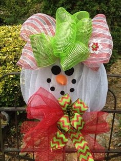 Snowman mesh wreath Christmas wreath by shutthefrontdoor2 on Etsy, $60.00