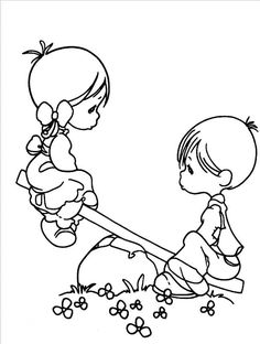 nice Friend Tattoos - Boy And Girl Precious Moments Coloring Pages - Precious Moments cartoon coloring pages