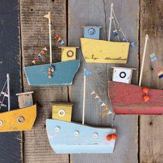 'Fishing fleet' new in my #etsy shop #boats #cornish #cornwall #driftwood #wood #etsyuk #handmade