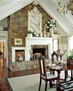 Gorgeous fireplace. Camp Boxwoods in Madison Georgia For Sale | hookedonhouses.net
