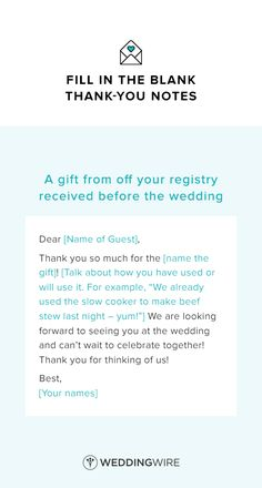 Wedding Thank You Note Template - thank you note template for a gift off your registry received before the wedding - see more thank you note templates on @weddingwire