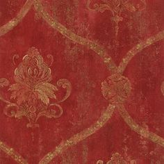 Gold Lattice and Floral Damask on Distressed Red, Aged, Worn, Old, Victorian Decor, Faux Texture - Wallpaper By The Yard - AW51077