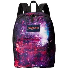 JanSport High Stakes (Multi Intergalatic) Backpack Bags ($40) ❤ liked on Polyvore featuring bags, backpacks, accessories, galaxy, pocket backpack, utility bag, purple backpack, galaxy print backpack and purple bags