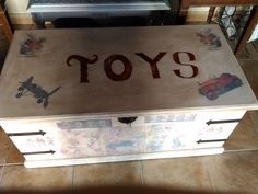 Vintage toy box! Hand painted