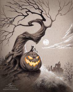 ArtStation - Haunted Hilltop, Kevin Keele Halloween Artwork, Halloween Drawings, Halloween Pictures, Halloween Kostüm, Vintage Halloween, Halloween Things To Draw, Arte Horror, Horror Art, Samhain