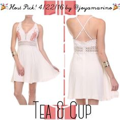 """Host Pick!  Tea & Cup Ivory Embroidered Dress ‼️SOLD OUT! Once they're sold, they're gone‼️ Host Pick! 4/22/16 by @joyamarino  Festival Favorite! This fabulous summer must-have dress here! Tea & Cup ivory dress with orange embroidered details, crochet trim and adjustable straps...back hidden zipper closure Brand: Tea & Cup Size: Small Measurements: length - 33"""" adjustable straps; (small) waist - 13"""" flat, chest - 15"""" flat; (medium) waist - 15"""" flat, chest - 17"""" flat; (large) waist - 17""""…"""
