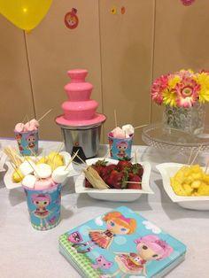 Pink chocolate fountain at a Lalaloopsy Party #lalaloopsy #party