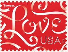 Louise Fili, design for a Love stamp for Valentine's Day.