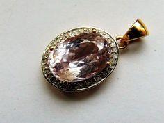 Catawiki Online-Auktionshaus: Kunzitanhänger mit 38 Diamanten, 585/1000 9 Mm, Cufflinks, Gold, Accessories, Gemstone, Auction, Jewlery