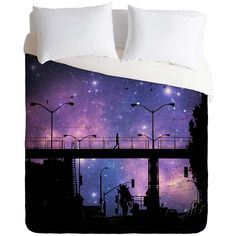 Shannon Clark night walk Duvet Cover ($139) ❤ liked on Polyvore featuring home, bed & bath, bedding and duvet covers