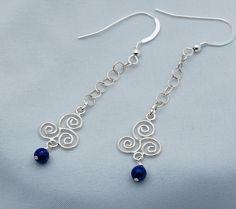 Sterling Silver & Lapis Lazuli  Dangle Earrings - Drop Earrings - Chain - Triple Spiral - Celtic