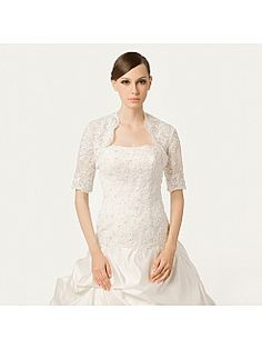 Half Sleeve Wedding Jacket with Beads and Sequins - GBP £43.88