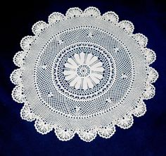 Vintage Cotton Crocheted Doily, Hand made White Doily, Lacework, lace, Crochet Doily, Shabby Chic, Made in Poland, Polish folk art 80's by VintagePolkaShop on Etsy