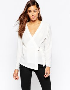 Image 1 ofASOS Wrap Blouse with D Ring