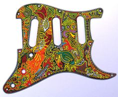 Strat Stratocaster Black Pickguard with Oil Based Paint Artwork | eBay
