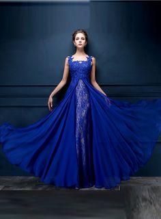 New Arrival Elegant Long Caftan Dresses Appliques See Through Vestido De Festa Longo Womens Clothing Blue Evening Dress 2015