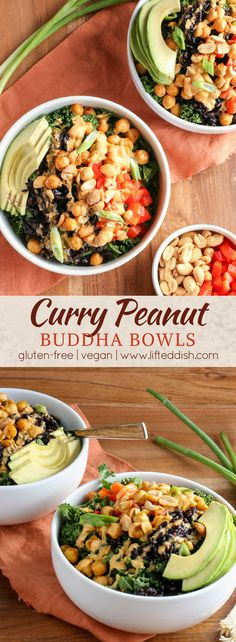 Veggie-packed buddha bowls with crispy curried chickpeas, black rice, bell peppers and avocado, smothered in a curry peanut sauce packed with flavor.  An easy vegan dinner recipe! #vegan #glutenfree #buddhabowls