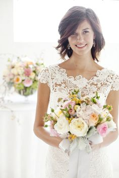 Spring Wedding Flower Trends by Tessa Woolf...I want this dress.