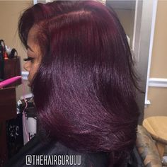 Love this color! Love this color! Wine colored natural hair f Dyed Natural Hair, Pelo Natural, Flat Ironed Natural Hair, Burgundy Natural Hair, Dyed Hair, Natural Hair Weaves, Weave Hairstyles, Pretty Hairstyles, Straight Hairstyles