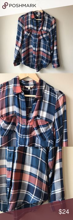 "Lucky Brand Plaid Top Lucky Brand plaid top, extremely soft!! Navy and peach colored, in excellent condition with no holes, stains or signs of wear  Size: S Shoulders: 15""  Length: 26"" Pit to pit: 19""   50% viscose 50% modal Lucky Brand Tops Button Down Shirts"