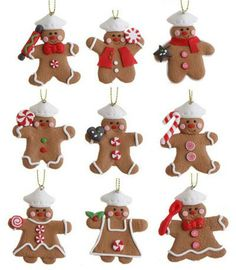 Mini Gingerbread Ornament, by Raz Imports. Adorable tiny gingerbread man chef cooking up various sweets! Sold individually (priced per ornament). Part of the Chocolate Moose Collection. Select your ornament choice below, from top to bottom, left to right. Measures 2 x 2 inches. Made of clay dough.