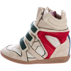 Pre-owned ?toile Isabel Marant Bekett Suede High-Top Sneakers ($195) ❤ liked on Polyvore featuring shoes, sneakers, neutrals, velcro strap sneakers, high top trainers, suede high tops, hidden wedge shoes and hidden wedge sneakers