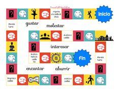 Este juego de mesa es para un nivel A1 y está hecho para practicar los pronombres de objeto indirecto con verbos como gustar, interesar, molestar… y también para practicar las expresiones de …