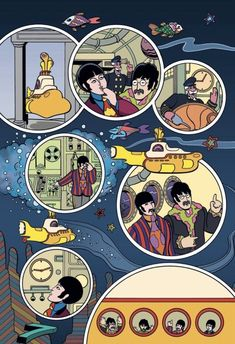 We all live in a Yellow Submarine... - The Beatles in Colour Poster Dos Beatles, Beatles One, Beatles Photos, Beatles Books, Band Wallpapers, Cute Wallpapers, Yellow Submarine Art, Jazz, Ligne Claire