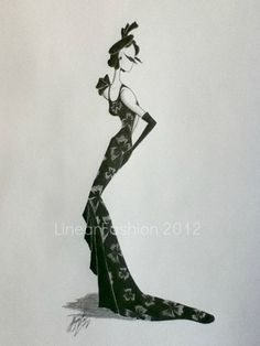 Fashion Art Illustration 1930s Black Evening By Linearfashions, $32.00
