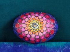 Large Mandala Stone, Bright, Pinks, Purple and Gold, Dot Mandala Stone, Meditation Stone, Paper Weight by KailasCanvas on Etsy