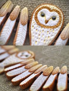 VaniLlamaArt - handmade: Złota Sowa na szyję :) / Barn Owl necklace Polymer Clay Owl, Polymer Clay Projects, Polymer Clay Creations, Polymer Clay Jewelry, Owl Necklace, Ceramic Jewelry, Clay Tutorials, Clay Art, Biscuit