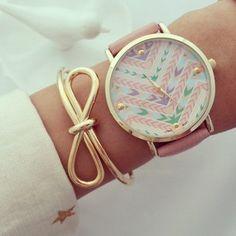 aztec watch and ribbon bangle