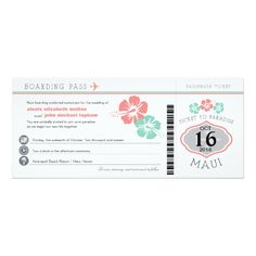 Hawaii Wedding Save the Date Cards Maui Hawaii Hibiscus Boarding Pass Wedding Card
