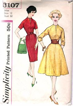 """Vintage 1959 Simplicity 3107 Dress with Two Skirts & Cummerbund Sewing Pattern Size 12 Bust 32"""""""