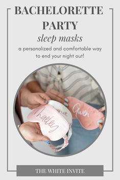 Your bridesmaids will LOVE these personalized sleep masks. The perfect gift idea for your bachelorette or bridal party, these cute sleep masks can be personalized with the name of your choice for a fun gift idea. With four color options, your bride tribe will swoon over this fun way to end the night. Choose from light blush pink, mauve, white or champagn to match the bridal party, maid of honor, and bride! #bridesmaidsgifts #cutesleepmasks #bachelorettepartygifts #bridetribe… Monogrammed Bridesmaid Gifts, Bridesmaid Gifts Unique, Bridesmaid Gift Boxes, Bridesmaid Makeup Bag, Bridesmaids, Bridal Party Getting Ready, Bachelorette Party Supplies, Blush Pink, Mauve