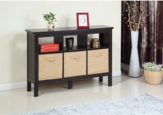 Accent and Occasional Furniture - Kimberly Hall Table with Three Baskets