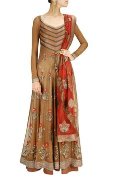 Dark beige color floor length anarkali suit – Panache Haute Couture