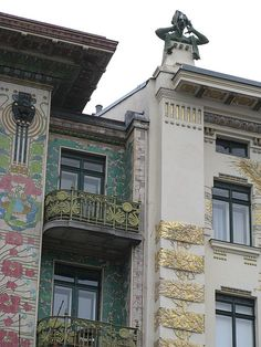 Detail of exterior ornamentation on apartment block, Wienzeile 38, Vienna, Austria, by Otto Wagner.