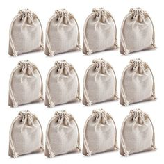 MIAOMIAO [set of 12] reusable cotton double drawstring Bags, Machine Washable gift bags, Natural Linen Pouches for Gift Packaging, Perfect for Wedding, and Other Giveaways  <b>GREAT QUALITY: </b> Natural materials, unbleached, not adding any taste to the bags.<br>  <b>CONVENIENT DRAWSTRING</b>:you can tie a knot to close it up.<br>  <b>EASY TO FILL AND WASH:</b> <br>  <b>PERFECT FOR GIVEAWAYS :</b> GREAT gift bags for birthday, holiday and party giveaways.