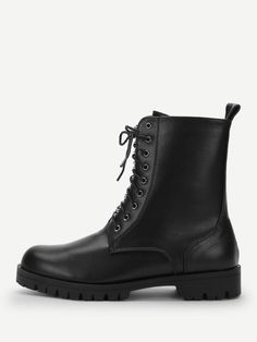 0eae8a739a1b3 Plain Studded Detail Lace-up Boots