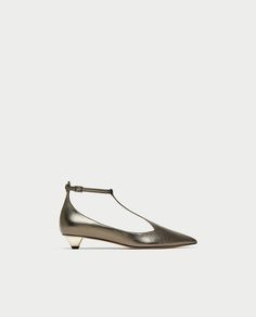 Image 2 of LEATHER T-STRAP BALLERINAS from Zara