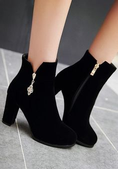 New Women Black Round Toe Chunky Zipper Casual Ankle Boots High Heel Boots, Ankle Boots, High Heels, Stiletto Heels, Tights And Boots, Dress With Boots, Fancy Shoes, Pretty Shoes, Fashion Heels