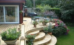 Terraced decking - like the curved edges