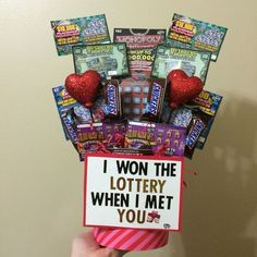 """""""I won the lottery when I met you"""" Valentines Day gift / boyfriend gift / DIY / . """"I won the lottery when I met you"""" Valentines Day gift / boyfriend gift / DIY / birthday / lott Diy Valentine Gifts For Boyfriend, Valentines Day Gifts For Him Boyfriends, Bday Gifts For Him, Cute Boyfriend Gifts, Cute Valentines Day Gifts, Boyfriend Ideas, Boyfriend Birthday, Kids Valentines, Homemade Valentines Gifts For Him"""
