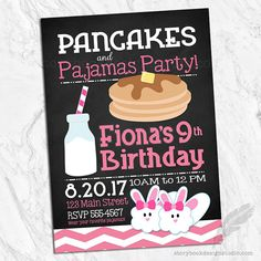 Pancakes and Pajamas Birthday Party by MagicalInvitations on Etsy