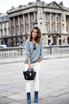 Can't go wrong with a grey sweater + white jeans. Ultra clean.