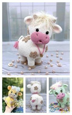 Crochet Cow, Crochet Animal Amigurumi, Crochet Amigurumi Free Patterns, Crochet Teddy, Crochet Dolls Free Patterns, Crochet Animals, Crochet Crafts, Crochet Projects, Free Christmas Crochet Patterns