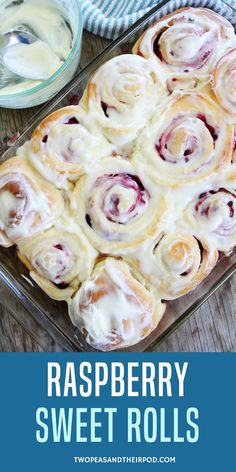 Raspberry Sweet Rolls-soft and sweet yeast rolls filled with raspberries and topped with cream cheese frosting. These sweet rolls are perfect for breakfast or brunch. #twopeasandtheirpod  This recipe can be read at https://www.twopeasandtheirpod.com/raspberry-sweet-rolls/